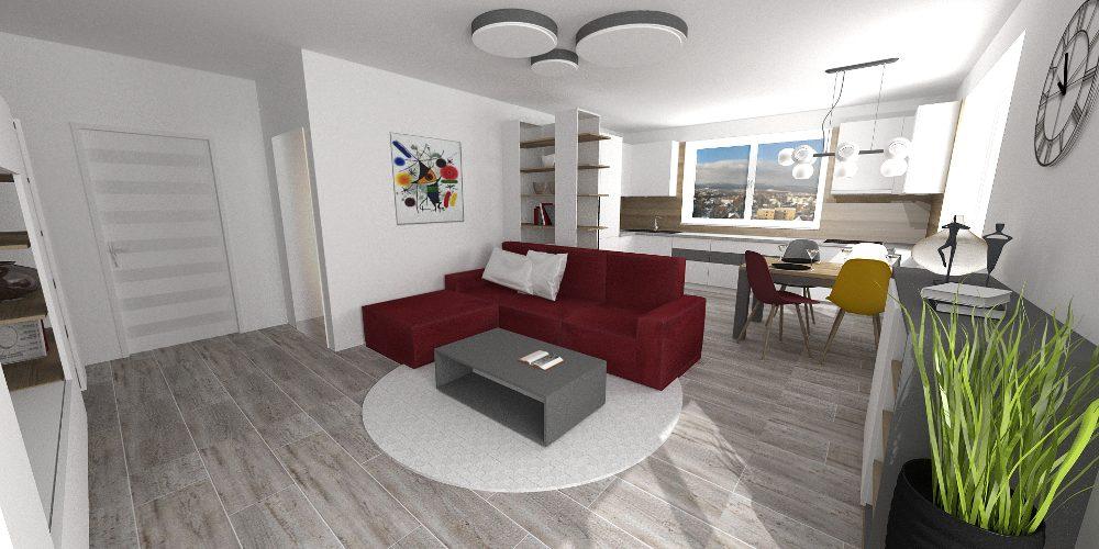 sedačka v teplých farbách v obývačke