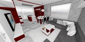 červeno-biela kuchyn v lesku