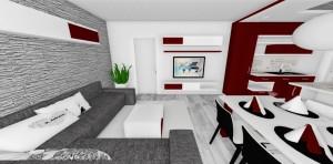 červeno-biela obývačka