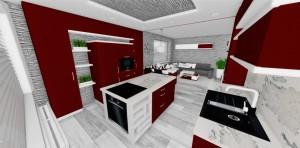 dizajnová kuchyn v červených odtienoch