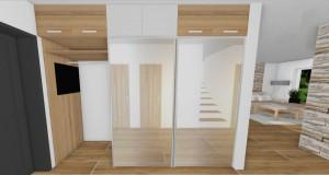 zrkadlové dvere na chodbe