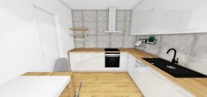 Betonový obklad namiesto zásteny v kuchyni