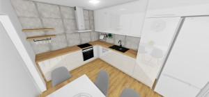Kuchyn kombinácia -biely lesk + dekor dub