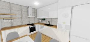 biela kuchyn s betonovým obkladom
