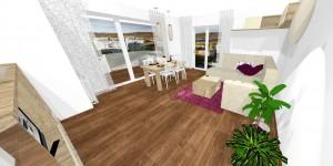 obývačka s využitím rustikálneho drevodekoru a matnej béžovej farby