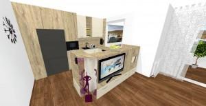 kuchynský pult ako stena TV v obývačke