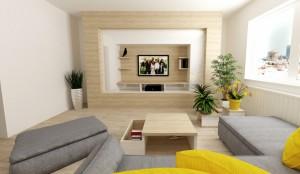 žlto šedá obývačka