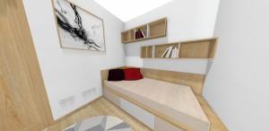 posteľ s úložnými policami v béžovej lesklej farbe