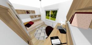 posteľ a otvorené police v  svetlom dreve