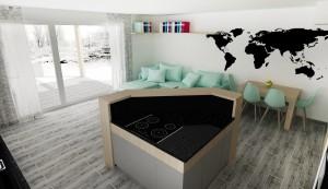 obývačka vizualizácia