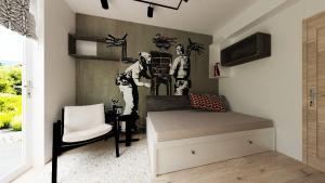 banksy tapeta v izbe