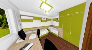 zelená na skrini, policiach, posteliach a osvetlení