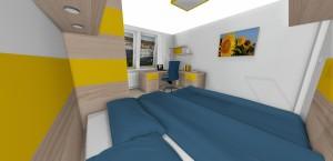 polica s bodovými svetlami nad posteľou na čítanie