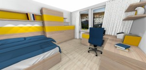 posteľ, komoda a stolík v žltej farbe
