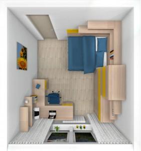 detská izba so žltou pôdorys