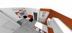 kuchynka prepojená s reprezentačnou miestnosťou v bielej a oranžovej